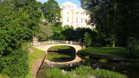 Centaurs bridge in Pavlovsk park Saint-Petersburg Stock Video Footage