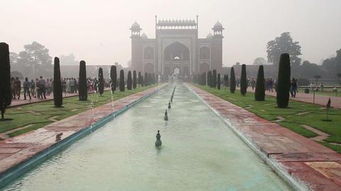Taj Mahal entrance in Agra India Stock Video Footage