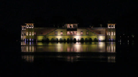 jal mahal palace on lake in Jaipur India at night Stock Video Footage