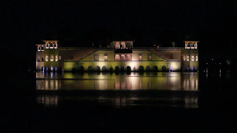jal mahal palace on lake in Jaipur India at night Footage