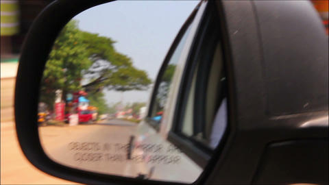 rearview mirror - driving in India Stock Video Footage