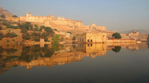 landscape with fort and lake in Jaipur India Stock Video Footage