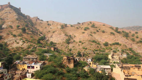 landscape near fort in Jaipur India Stock Video Footage