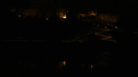 fort illumunation in Jaipur at night India - timel Stock Video Footage