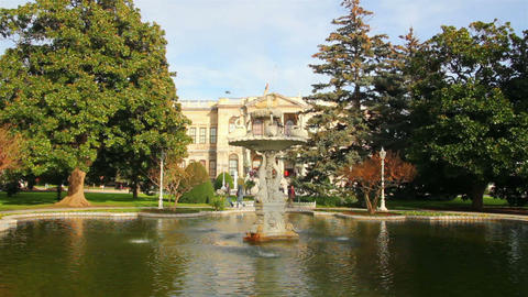 fountain in Dolmabahce sultan palace - Istanbul Tu Stock Video Footage