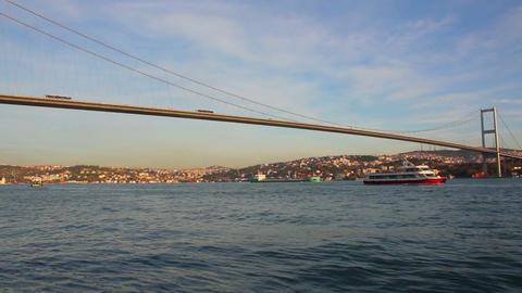 bridge over the Bosphorus Strait in Istanbul Turke Stock Video Footage