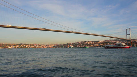 bridge over the Bosphorus Strait in Istanbul Turke Footage