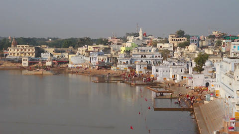 ritual bathing in holy lake - Pushkar India Footage