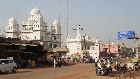 town street in Pushkar India Stock Video Footage