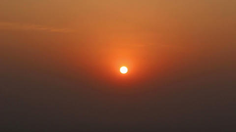 timelapse with sunset in fog Stock Video Footage