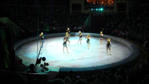 artists during perfomance in circus Footage