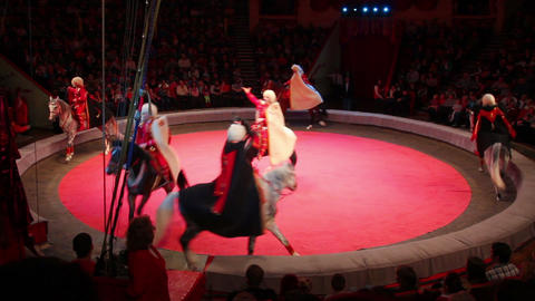 performance of horsemen riding at circus Stock Video Footage