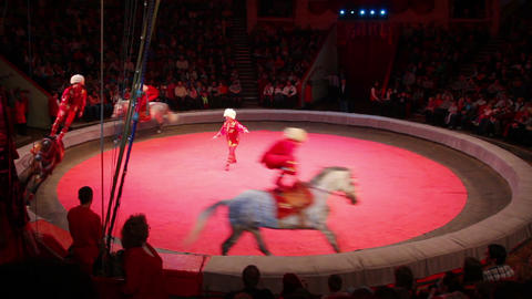 performance of horsemen riding at circus Footage