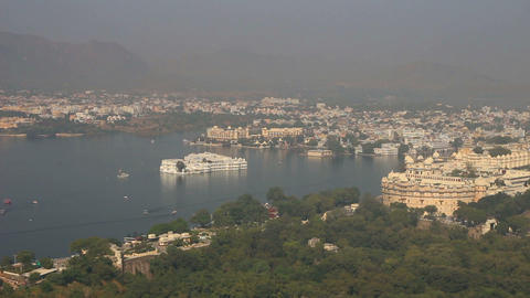 landscape with lake and palaces in Udaipur India Stock Video Footage