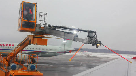processing aircraft anti-icing in airport Footage