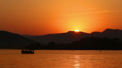 sunset on lake - Udaipur India Footage