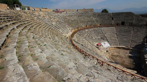 ancient amphitheater in Pamukkale Turkey Stock Video Footage