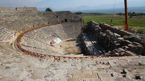 ancient amphitheater in Pamukkale Turkey Stock Video Footage