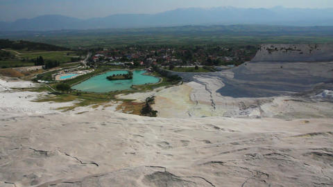 panorama of pamukkale turkey Stock Video Footage