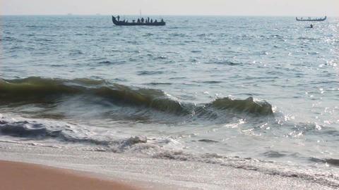 fishermen boats in sea - Kerala India timelapse Footage
