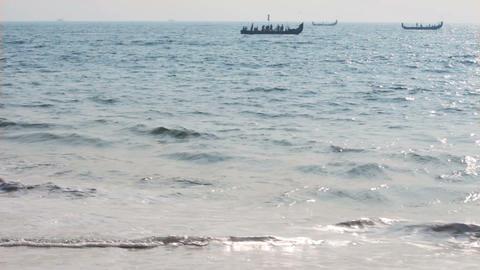 fishermen boats in sea - Kerala India timelapse Stock Video Footage