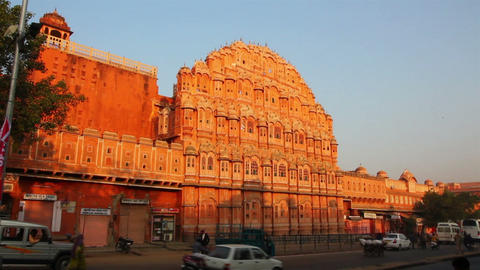 hawa mahal - palace of winds in Jaipur India Stock Video Footage