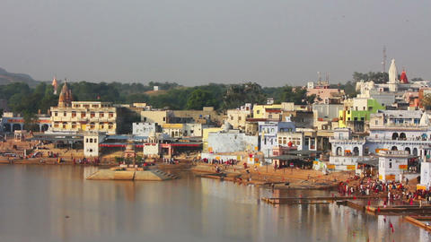 ritual bathing in holy lake Pushkar India - timela Stock Video Footage