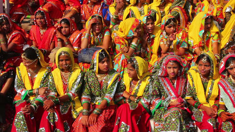 Indian girls in colorful ethnic attire at Pushkar Stock Video Footage