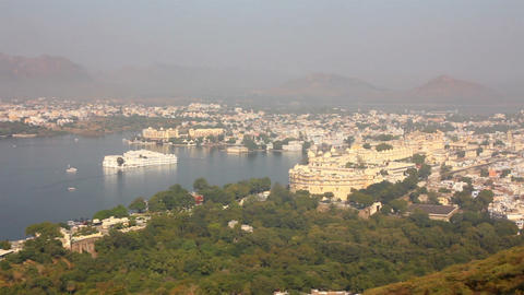pan landscape with lake and palaces in Udaipur Ind Footage