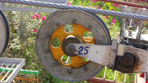 funicular wheel closeup Stock Video Footage