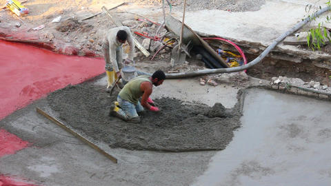 workers at construction site makes floor of concre Stock Video Footage