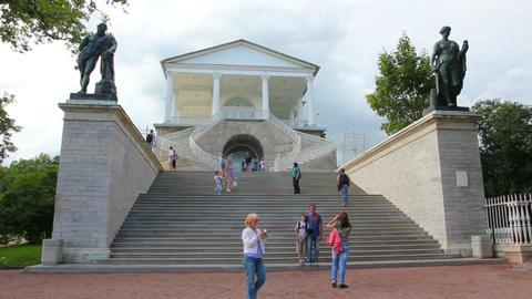 Cameron Gallery in Pushkin park, St. Petersburg Ru Stock Video Footage