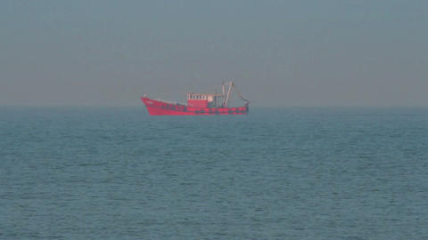 fishing ship in indian ocean Stock Video Footage