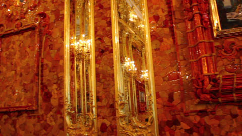 amber room in Catherine Palace - Pushkin St. Peter Stock Video Footage