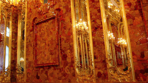 amber room in Catherine Palace - Pushkin St. Peter Footage