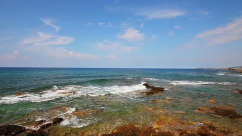 mediterranean sea with waves landscape in Turkey - Stock Video Footage