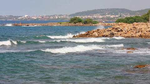 mediterranean sea with waves landscape in Turkey - Stock Video Footage