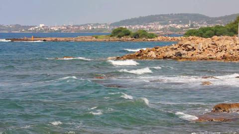 mediterranean sea with waves landscape in Turkey - Footage