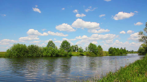 landscape with clouds over lake Stock Video Footage