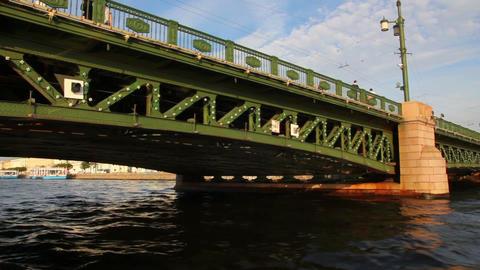 Palace bridge on Neva river in St. Petersburg Russ Stock Video Footage