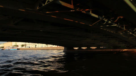Palace bridge on Neva river in St. Petersburg Russ Footage