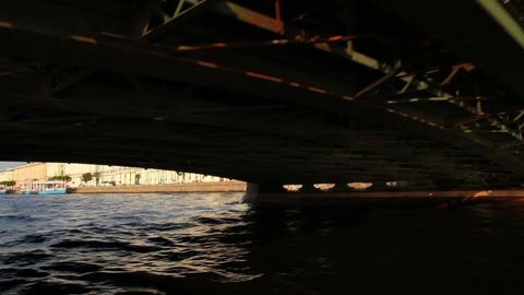 Palace bridge on Neva river in St. Petersburg Russ Footage
