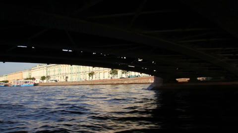 Palace bridge on Neva river in St. Petersburg Russ Stock Video Footage