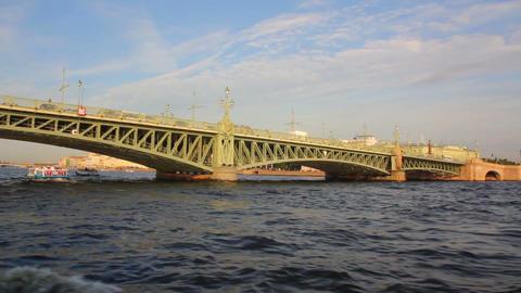 Trinity Bridge on Neva river in St. Petersburg Rus Stock Video Footage