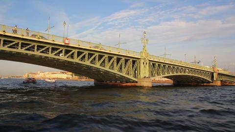 Trinity Bridge on Neva river in St. Petersburg Rus Footage