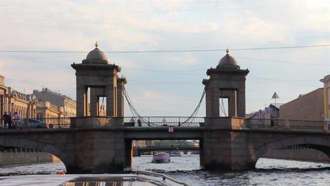 Lomonosov Bridge on Fontanka river in St. Petersbu Stock Video Footage
