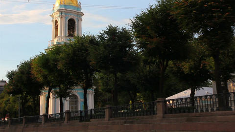 church in St. Petersburg Russia - view from boat Stock Video Footage