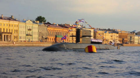 submarine on Neva River - day of the Navy in Saint Stock Video Footage
