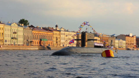 submarine on Neva River - day of the Navy in Saint Footage
