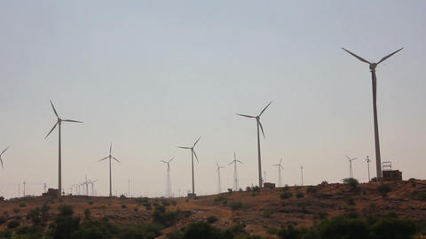 Wind Farm - Turning Windmills stock footage
